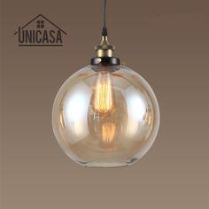 Amber Glass Shade Antique Pendant Lights Industrail Kitchen Island Office Bar Shop Lighting Fixures Vintage Pendant Ceiling Lamp