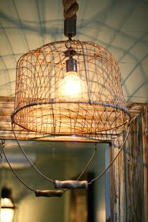 Adorable light fixture made out of an #upcycled wire basket: