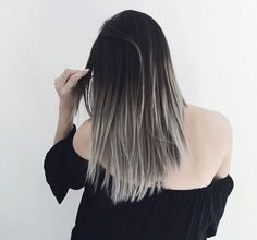 Find this Pin and more on grey ombre hair. Black To Grey Ombre Hair, Ombre Hair Color, Gray Ombre, Grey Hair, Brown Hair, Messy Hairstyles, Pretty Hairstyles, Style Hairstyle, Corte Y Color