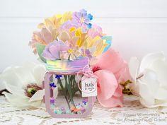 Joanna Wiśniewska: Amazing Paper Grace March Die of the Month Blog Hop – Mini 3D Vignette Floral Mason Jar Becca, Mason Jars, Paper, Amazing, Floral, Blooming Flowers, March, 3d, Mini