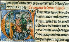 Description: Detail of an historiated initial 'V' of Godfrey of Bouillon and his train setting out on horseback.  Origin: France, N. (Pic...http://www.bl.uk/catalogues/illuminatedmanuscripts
