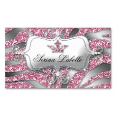 Fashion Jewels N Crown Leopard Zebra Lace Pink Business Card - Jewelry business card templates