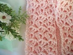 Infinity fashion scarf crocheted in lacy pink by ThePeacefulHeart, $25.00