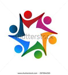 Team people group of workers logo vector