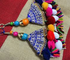 Your place to buy and sell all things handmade Thread Jewellery, Tassel Jewelry, Textile Jewelry, Fabric Jewelry, Beaded Jewelry, Handmade Jewelry, Rakhi Design, Saree Tassels, Fabric Earrings