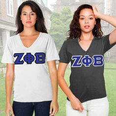 Zeta Phi Beta Sorority 2 V-Neck Tees Package #Zeta #ZetaPhiBeta #Clothing #Sorority #Greek