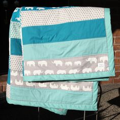 DIY Project: Elephants & Dots Baby Quilt...in shades of purple and grey.....cute!!