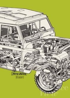 """Green Land Rover Print: The UK Haynes Gallery shares my appreciation for automotive """"cutaways""""."""