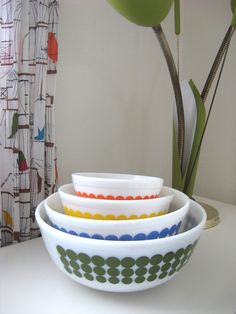 Pyrex NEW Dot ~ LOVE ! I have 2 sets and every time I find one bowl I have to start another set! I am Possessed...