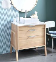 Washbasin contemporary / oak / asking / with mirror