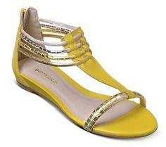 Sandália rasteira amarela com tiras metalizadas   Sandálias   Bottero Calçados