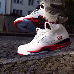 quite nice 018a7 9f564 Fire Red Jordan V s on Feet