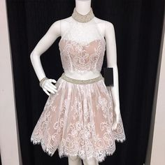 Two Piece High Neck White Lace Short Prom Dress Homecoming Dress