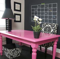 chalkboard paint home office...love that pink table!! :)