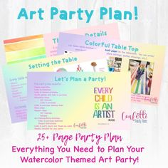Art Party Plan, Watercolor Art Party, Art Birthday Party • Confetti Party Plans