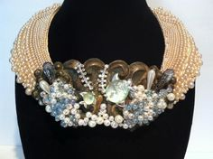 Vintage Escutcheon necklace adorned with vintage by N2Vintaj, $250.00