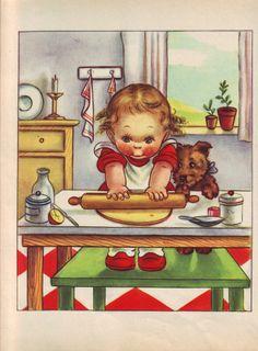 Illustration by Mariapia Vintage Pictures, Vintage Images, Vintage Posters, Cute Pictures, Decoupage Vintage, Colette, Postcard Art, Vintage Drawing, Cute Illustration