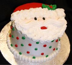 Great idea for a Christmas Santa cake Holiday Cakes, Holiday Desserts, Holiday Baking, Holiday Treats, Christmas Baking, Xmas Cakes, Christmas Cupcakes, Christmas Sweets, Santa Christmas