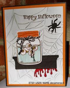 handmade halloween card kit set of 4 stampin up jar of haunts - Stampin Up Halloween Ideas
