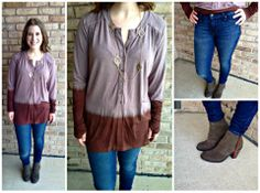 """Soft eco friendly top from the line Ecoskin with thumbholes! We have it with the """"Justified"""" skinny jean from CJ Jeans (great fit) and go with anything olive suede booties from Dolce Vita!!"""