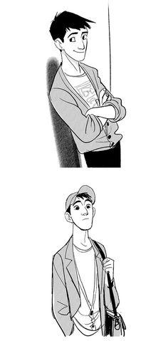 Pixar Drawing Hiro e Tadashi Hamada, de Big Hero por Jin Kim Drawing Cartoon Characters, Character Drawing, Cartoon Drawings, Character Concept, Disney Style, Disney Art, Tadashi Hamada, Hiro Hamada, Caricatures