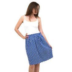 חצאית רטרו - נקודות כחולה