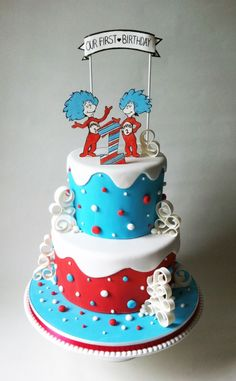 Do you have twins? They'll love this Thing One and Thing Two Birthday Cake via Brit + Co!