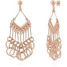 BERRICLE Rose Gold-Tone Fashion Statement Dangle Chandelier Earrings ($27) ❤ liked on Polyvore featuring jewelry, earrings, chandelier earrings, women's accessories, brass earrings, chandelier jewelry, dangle earrings and post earrings