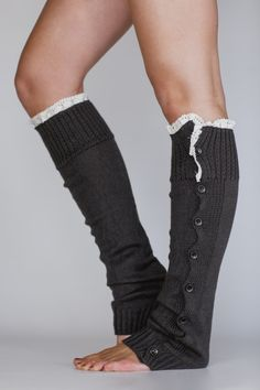 TRYING TO FIND THIS PATTERN!!    Grey Leg Warmers Button Down Lacy Ruffle Trim in Dark Grey Boot Socks Boot Cuffs. $38.00, via Etsy.