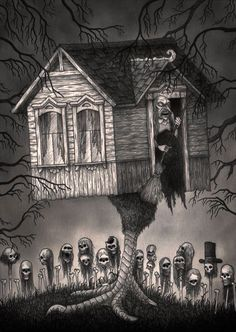 You guys are just too noisy.do I have to come out there and knock some heads. Arte Horror, Horror Art, Julia Sarda, John Kenn, Illustrations, Illustration Art, Monster Drawing, Monster Art, Cool Monsters