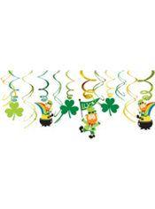 Leprechaun Swirl Decorations 12ct