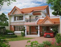 These images below are a compilation of some of the narrow house design for a small and narrow lot or space available to build a small two story house. House Arch Design, Two Story House Design, 2 Storey House Design, Village House Design, Two Storey House, Small House Design, Modern Bungalow House, Modern House Plans, Narrow House Designs