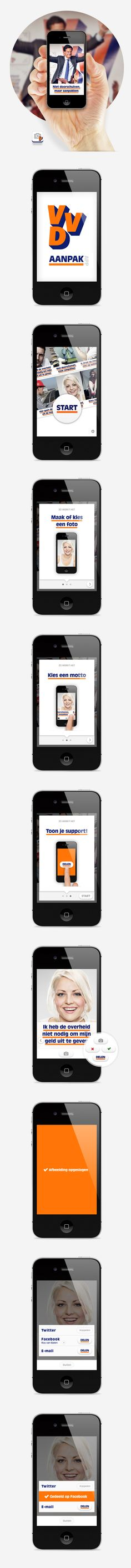 In September 2012 there were elections for a new government in the Netherlands. This app for the VVD party (won the elections, now the biggest party) supported its country wide on- and offline strategy. The app lets people add the banners of the offline campaign to their own pictures helping them to spread the VVD spirit/values across social media on a unique way. #ux #uxd #appdesign #app #elections #netherlands #rutte #vvd #aanpakken