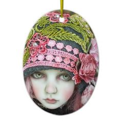 Pink Green Ivory Face - customize your own. Pink Christmas Ornaments, Beautiful Christmas Decorations, Holiday Themes, Cute Little Girls, Pink And Green, Hot Pink, Crochet Hats, Ivory, Women's Fashion