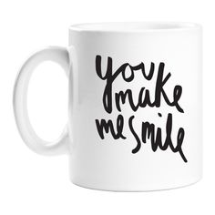 Old English Co Make Me Smile Mug ($19) ❤ liked on Polyvore featuring home, kitchen & dining, drinkware, ceramic tea mug, quote mugs, tea mug and ceramic mugs