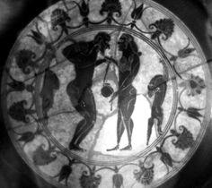 Heidelberg Painter (fl. c. 575 - 555 BCE), Museo Archeologico Nazionale, Taranto 110339 (20253) (563/562-550 BCE; excavated at Taranto, Italy). Black-figure Siana cup. Tondo.
