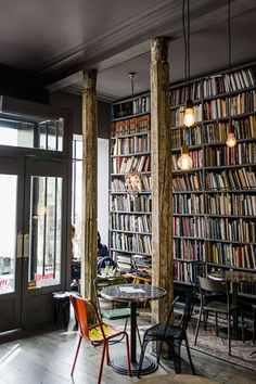 Paris - The Used Book Cafe is a dark and moody café located in the fantastic concept store Merci, at 111 Boulevard Beaumarchais 75003.