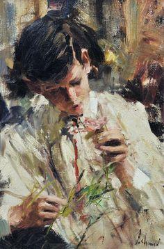 Richard Schmid - Boy With Flower