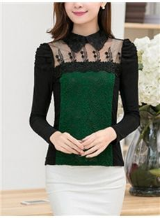 #Color Block Embroidery Patchwork #Lace Women's T-shirt