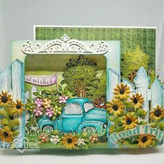 Trip to Sunflower Farm made w/ Young at Heart collection from #HeartfeltCreations. #menscards