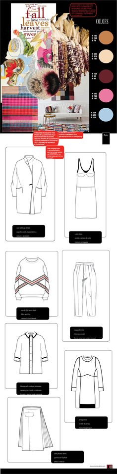 Flat sketches with inspiration board Fashion Design Template, Fashion Pattern, Fashion Templates, Fashion Design Sketches, Web Design, Flat Drawings, Flat Sketches, Fashion Flats, Fashion Art