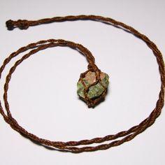Raw Unakite Necklace.Macrame necklaceunakite by WrapMeACrystal