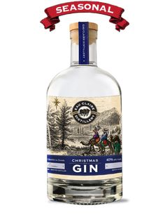 Christmas Gin. 40 % ABV. Contemporary. Traditional London-style Gin with the addition of two unique botanicals :  Frankincense and Myrrh.