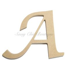 "Unfinished Wooden Letter - Uppercase """"A"""" - Lucida Calligraphy Font"