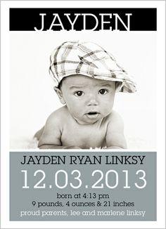 Modern Beautiful Boy Birth Announcement
