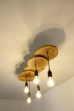 Wooden pendant light - Field Maple slices / Wooden ceiling lamp / Wood light fix. Wooden pendant l Industrial Ceiling Lights, Ceiling Light Fixtures, Industrial Lamps, Ceiling Lamps, Ceiling Lighting, Modern Industrial, Floor Lamps, Farmhouse Lighting, Rustic Lighting