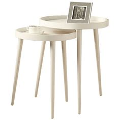 Set Of 2 Nesting Tables (140 CAD) ❤ liked on Polyvore featuring home, furniture, tables, accent tables, nocolor, white nesting tables, circular table, white occasional table, white round accent table and white accent table