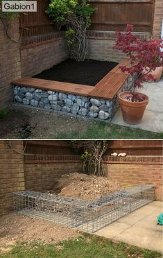 gabion small planter winter on balcony, boots ladies uk size hertfo Backyard Patio Designs, Front Yard Landscaping, Backyard Pools, Backyard Ideas, Pallet Patio Decks, Landscaping Retaining Walls, Landscaping Design, Back Gardens, Outdoor Gardens