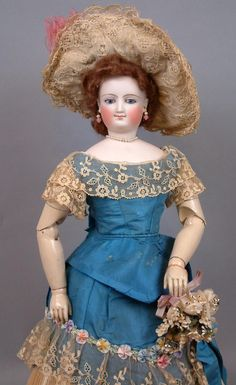 "Museum Ready 17.5"" Smiling Bru Poupee With Articulated Wooden Arms In Antique Silk Ballgown~WOAH!"