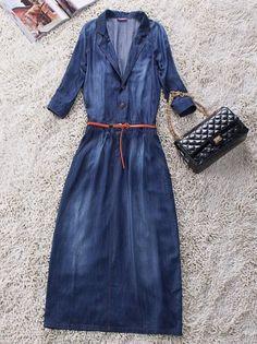 86262979aa3 Blue V Neck Long Sleeve Single Breasted Denim Dress -SheIn(Sheinside)  Fashion Over